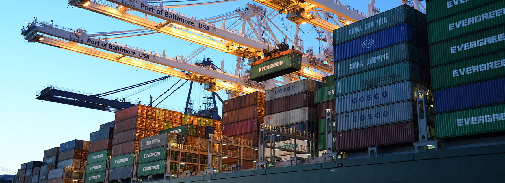 Shipping containers representing sea freight